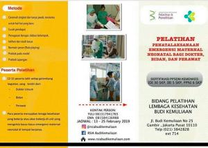 Pelatihan Penatalaksanaan Emergensi Maternal Neonatal Bagi Dokter, Bidan dan Perawat RS Budi Kemuliaan