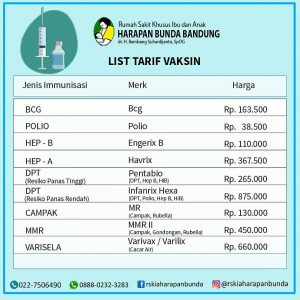 List Harga Vaksin RSKIA Harapan Bunda Bandung
