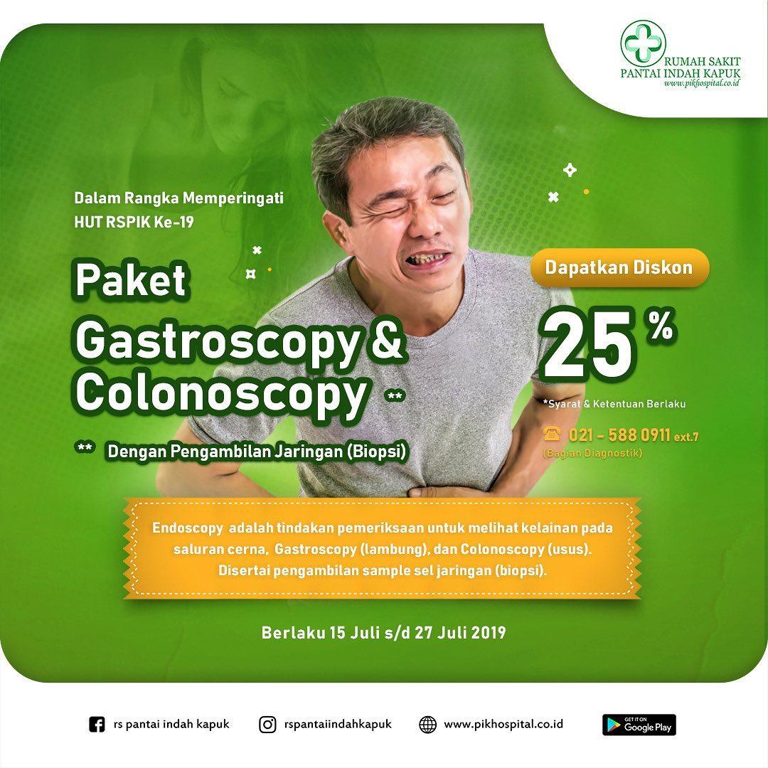 Diskon 25% Paket Gastroscopy & Colonoscopy.