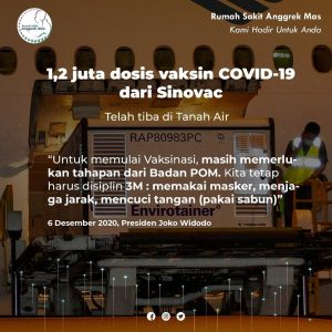 1.2 juta dosis Vaksin Covid-19 dari Sinovac telah tiba di Indonesia