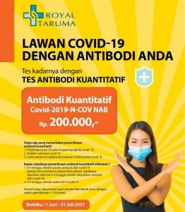 Tes Kadar Antibodi Kuantitatif Covid-19-N-COV-NAB Harga Khusus Rp 200.000,-